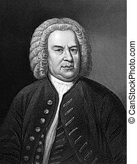 Johann Sebastian Bach (1685-1750) on engraving from 1857. German composer, organist, harpsichordist, violist and violinist. Engraved by C.Cook and published in Imperial Dictionary of Universal Biography, Great Britain,1857.