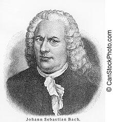 Vintage 19th century old engraving representing Johann Sebastian Bach