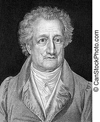 Johann Wolfgang von Goethe (1749-1832) on engraving from 1859. German writer, artist and politician. Engraved by C.Barth and published in Meyers Konversations-Lexikon, Germany,1859.