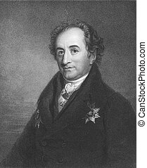 Johann Wolfgang von Goethe (1749-1832) on engraving from the 1800s. German writer and polymath. Engraved by J. Pofselwhite and published in London by Charles Knight, Ludgate Street.