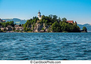 Johannesberg Chapel, Traunkirchen and lake Traunsee in Salzkammergut, Austria