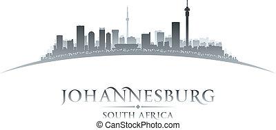 johannesburg, afrique sud, horizon ville, silhouette.,...