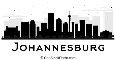 Johannesburg City skyline black and white silhouette.