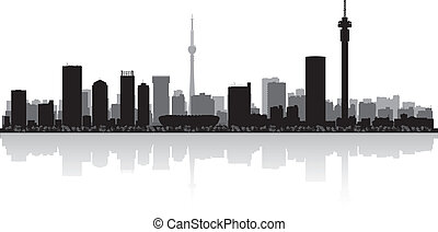 Johannesburg city skyline vector silhouette - Johannesburg...