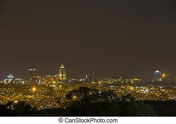 johannesburg, contorno, sandton, noche
