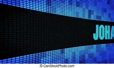 JOHANNESBURG side Text Scrolling LED Wall Pannel Display...