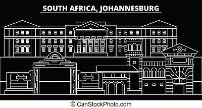 Johannesburg silhouette skyline. South Africa - Johannesburg vector city, african linear architecture. Johannesburg line travel illustration, landmarks. South Africa flat icon, african outline design