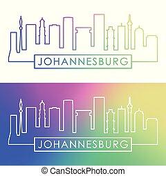 Johannesburg skyline. Colorful linear style.