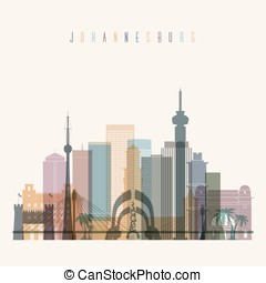 Johannesburg skyline detailed silhouette.