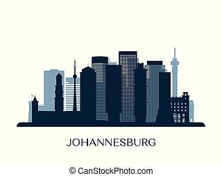Johannesburg skyline, monochrome silhouette.