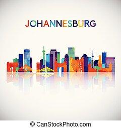 Johannesburg skyline silhouette in colorful geometric style.