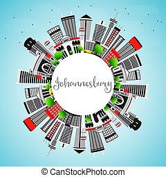 Johannesburg Skyline with Gray Buildings, Blue Sky and Copy Space.