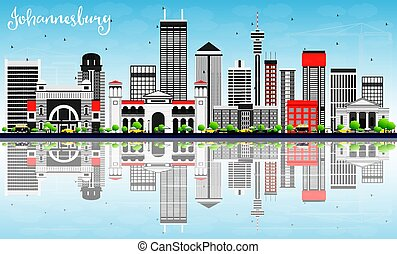 Johannesburg Skyline with Gray Buildings, Blue Sky and Reflections.