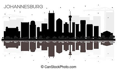 Johannesburg South Africa City skyline black and white silhouette with Reflections.