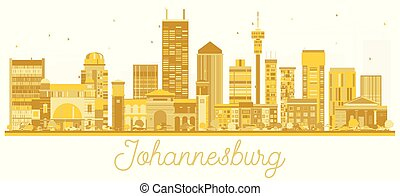 Johannesburg South Africa City skyline golden silhouette.