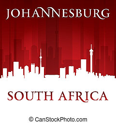 Johannesburg South Africa city skyline silhouette red background