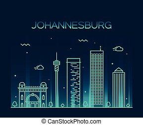 johannesburg, wektor, sylwetka na tle nieba, ilustracja, linearny