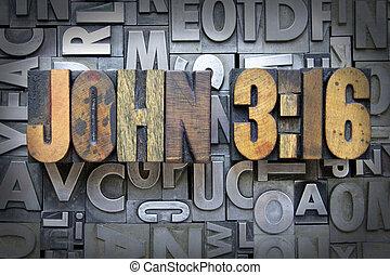 John 3:16 written in vintage letterpress type