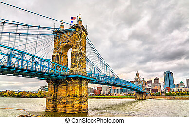 John A. Roebling Suspension Bridge across the Ohio River in the USA