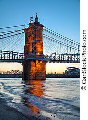 John A. Roebling Suspension Bridge in Cincinnati