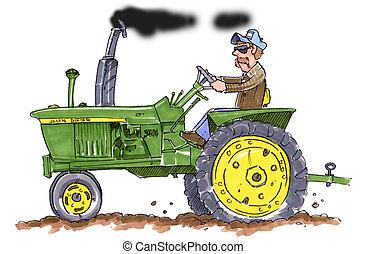 A farmer driving an old John Deer Tractor