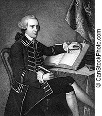 John Hancock (1737-1793) on engraving from 1835. Merchant,...