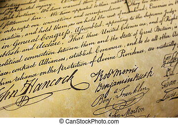 John Hancock - Section of the Declaration of Independence,...