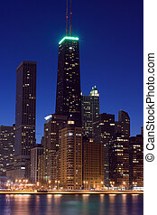John Hancock Tower after sunset - John Hancock Tower just...