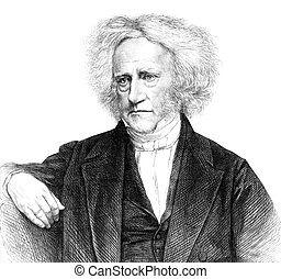John Herschel (1792-1871) on engraving from 1871. English...