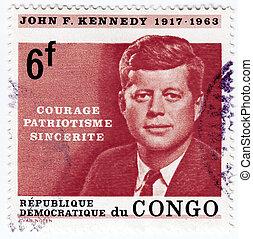 john, kennedy, usa, briefmarke, -, fitzgerald, 1963, kongo,...