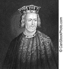 John King of England (1166-1216) on engraving from 1830. ...