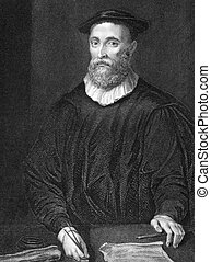 John Knox (1510-1572) on engraving from 1838. Scottish clergyman. Engraved by H.T.Ryall and published by J.Tallis & Co.