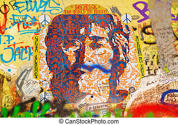 John Lennon Graffiti Wall on Kampa Island in Prague -...