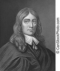 John Milton (1608-1674) on engraving from the 1800s. English...