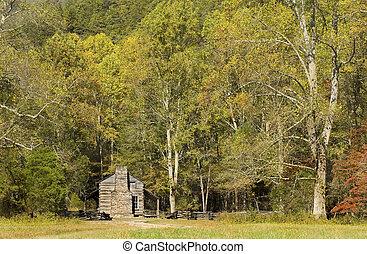 john, oliver, cabine, rustiek, appalachian, berg stulp, het grote rokerige nationale park van bergen