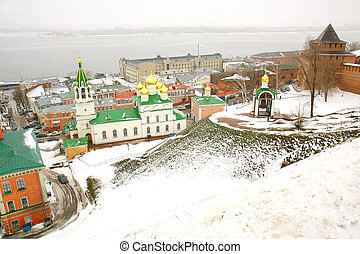 John the Baptist Church and Kremlin Nizhny Novgorod Russia in november