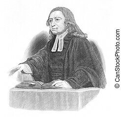 John Wesley (1703-1791) preaching over an open bible on ...