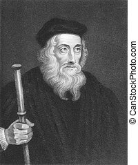 John Wiclif (1320s-1384) on engraving from the 1800s. English theologian, lay preacher, translator, reformist and university teacher. Engraved by J. Pofselwhite and published in London by Charles Knight, Ludgate Street.