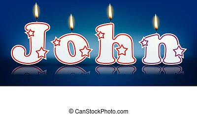 JOHN written with burning candles - vector illustration