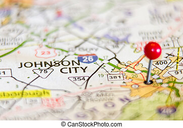 Johnson City in Tennessee on map