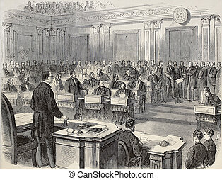 Old illustration of reading impeachment act of President Johnson in the United States Senate. Original, created by Pauquet and Cosson-Smeeton, publ. on L'Illustration, Journal Universel, Paris, 1868