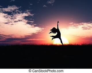 joie, contre, sauter, coucher soleil, femme, paysage, 3d