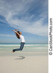 joie, femme, plage, sauter, heureux