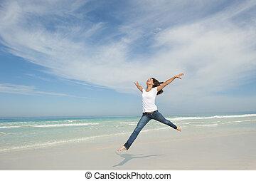 joie, femme, plage, sauter
