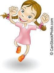 joie, girl, sauter, jeune