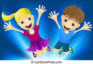 joie, sauter, enfants, heureux