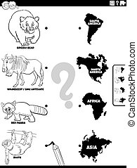 Black and White Cartoon Illustration of Educational Matching Task for Children with Animal Species Characters and Continent Shapes Coloring Book Page