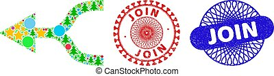 Combine arrow left collage of Christmas symbols, such as stars, fir-trees, multicolored spheres, and JOIN grunge stamp seals. Vector JOIN seals uses guilloche ornament,