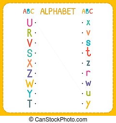 Join each capital letter with the lowercase letter. From R to Z. Worksheet for kindergarten and preschool. Exercises for children. Vector illustration