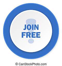 join free blue circle 3d modern design flat icon on white background